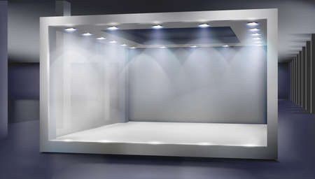 Empty shop window in a shopping mall. Show room. Place for the exhibition or product display. Vector illustration.