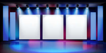 Free space for product display or advertising. Show in art gallery. Large projection screens on the stage. Vector illustration.
