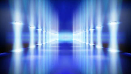 Iilluminated corridor. Stage podium during the show. Blue carpet. Fashion catwalk, runway. Vector illustration. Illusztráció