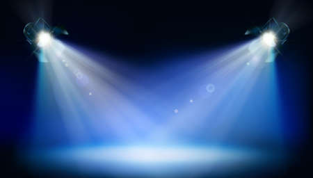 Stage illuminated by two theater spotlights during the show. Blue background. Place for the exhibition. Vector illustration. Illusztráció
