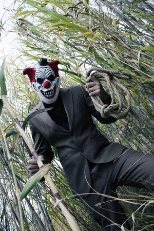 Creepy and scary clown having fun. Wanna play?