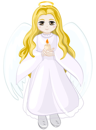 Angel girl with blond hair, with wings and a halo holding a candle Vector
