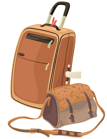 wheeled: Wheeled suitcase and a shoulder bag with a pattern