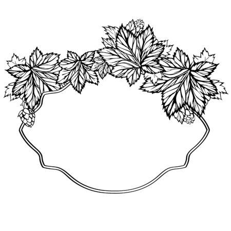 Figured frame with hand drawn carved leaves. Branch of hops, hop head Illustration