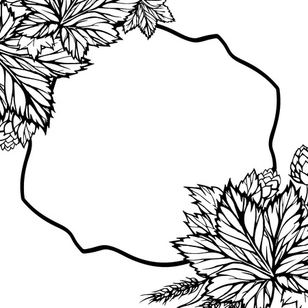branches with leaves: Hand drawn minimalistic background with linear frame in the middle and carved leaves in the corners. Branches, leaves and flowers of the hop Illustration