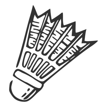 Hand drawn nylon shuttlecock, vector illustration
