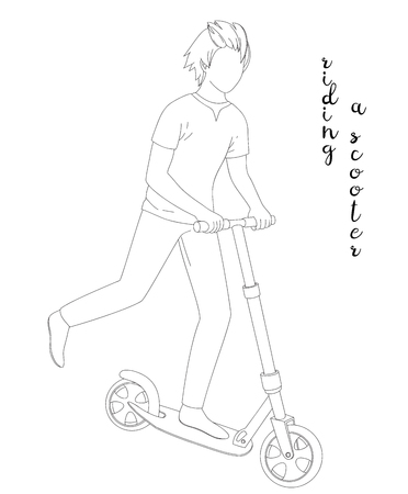 gripping: Vector sketch of a boy on scooter