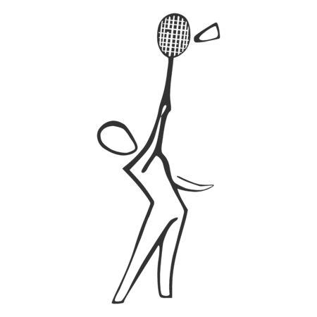Badminton line icon. Hand drawn vector illustration