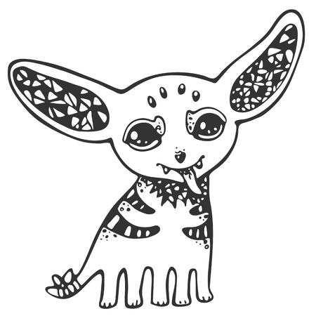 mutant: Decorative stylized mystical creatures, drawing by hand. Vector illustration for design, stencil, print on t-shirt, bag, notebook, card. Stock Photo