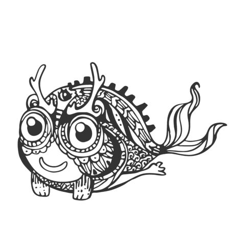 Decorative stylized mystical creatures, drawing by hand. Vector illustration for design, stencil, print on t-shirt, bag, notebook, card. Stock Photo