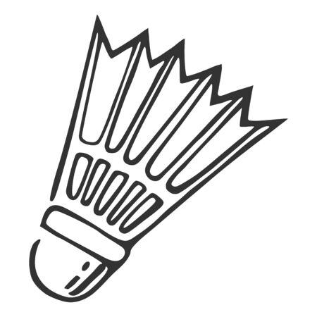 Badminton line icon, sketch style on white