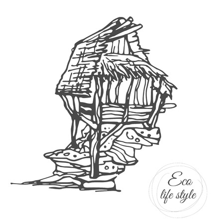 An old wooden house on a stone with a thatched roof in a sketch style Illusztráció