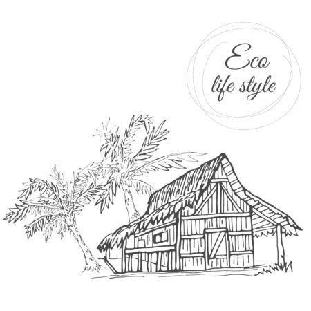 House under palm trees with thatched roof in the style of the sketch Ilustracja