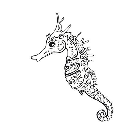 Eenvoudig lineair beeld Zeepaardjes, element voor ontwerp