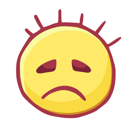 Funny hand drawn head with protruding hair head, emoticon upset, isolated on transparent background