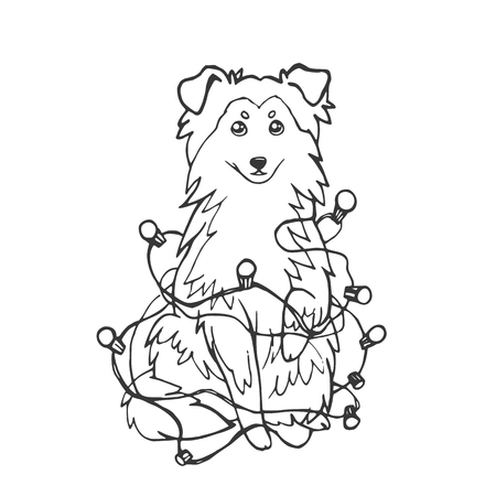 Black and white linear sketch. Vector illustration. Hand drawing cartoon puppy on white background