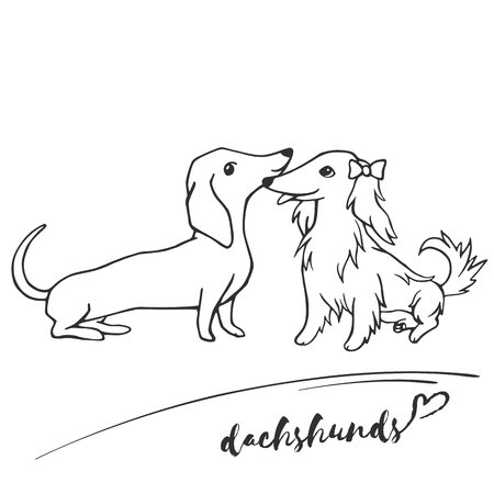 Black and white linear sketch. Vector illustration. Hand drawing cartoon dogs on white background