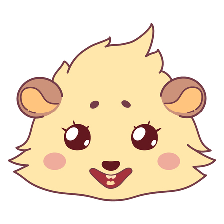 Cartoon guinea pig, color head, emoticon smile, isolated on transparent background