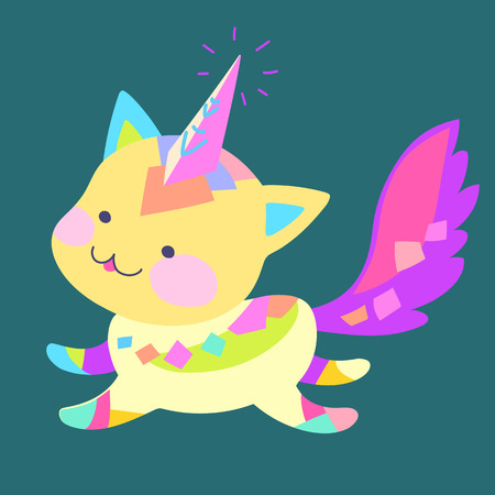 Bright colored kitten with fluffy tail runs, vector illustration