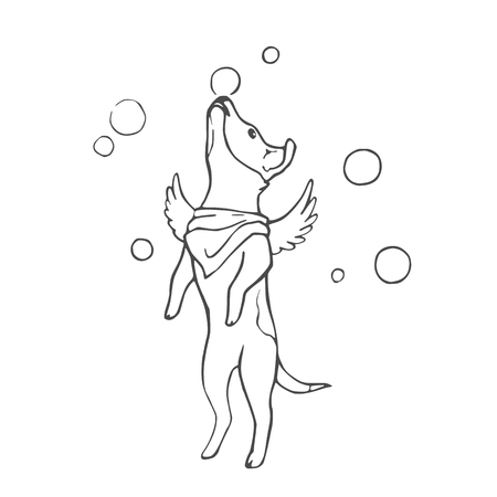 Black and white linear sketch. Vector illustration. Hand drawing cartoon dog on white background
