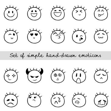 Sketch of doodle face, smiley, isolated on white background