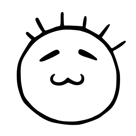 Line emoticons icon, smiley with closed eyes and cat s mouth, cunning emoji Banco de Imagens - 104576552