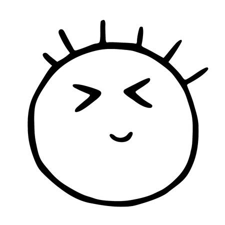Line emoticons icon, smiley eyes screwed up, smiling, embarrassment emoji