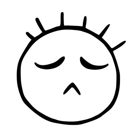 Line emoticons icon, offended emoticon, dissatisfied emoji Çizim