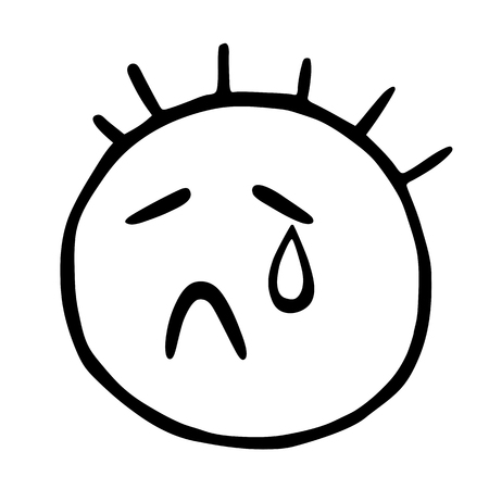 Line emoticons icon with closed eyes and a teardrop, Crying Emoji A Face Çizim