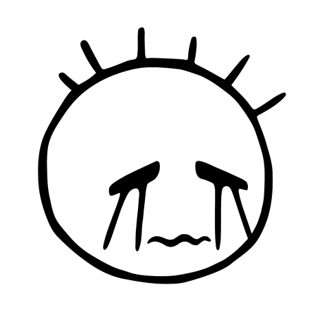 Funny hand drawn head with protruding hair head, emoticon Cry, isolated on transparent background