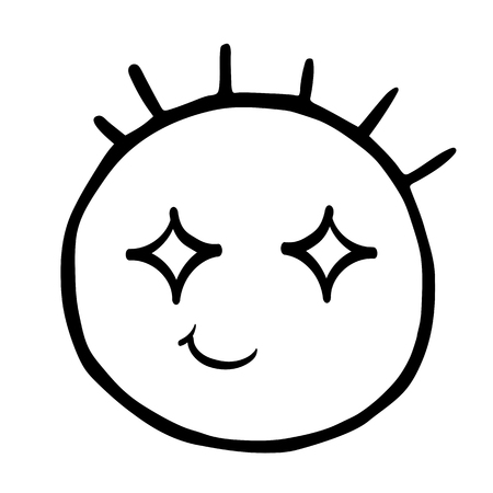 Funny hand drawn head with protruding hair head, encouraged emoticons smile, isolated on transparent background