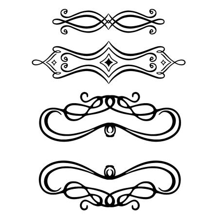 Embellissement de défilement vectoriel sur blanc. Vecteurs