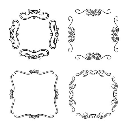 Vector frames with curls on a white background Illustration