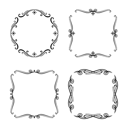 Vector frames with curls on a white background Çizim