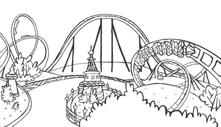 Illustration vectorielle avec montagnes russes dessinées à la main. Vide pour votre conception, divertissement pour enfants