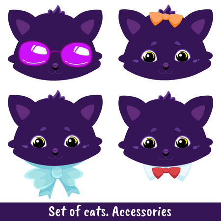 Set of four cats with different accessories - sunglasses, a bow on the head, a ribbon - a bow on the neck, a collar with a bowtie - a tie. Color image of a pets. Vector illustration for coloring book, stencil, design, prints.