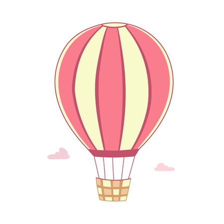 The pink striped balloon with basket flies in the sky.