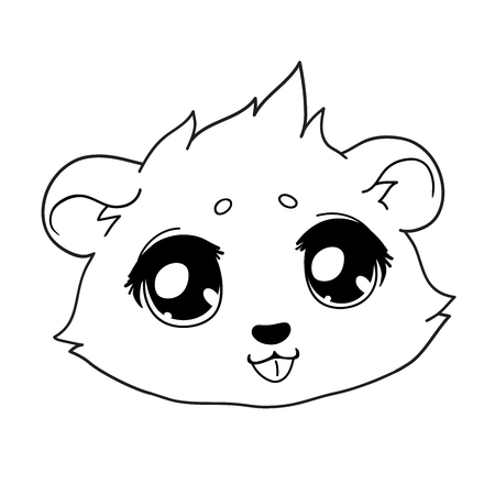Hamster shows tongue, playful smiley. Çizim