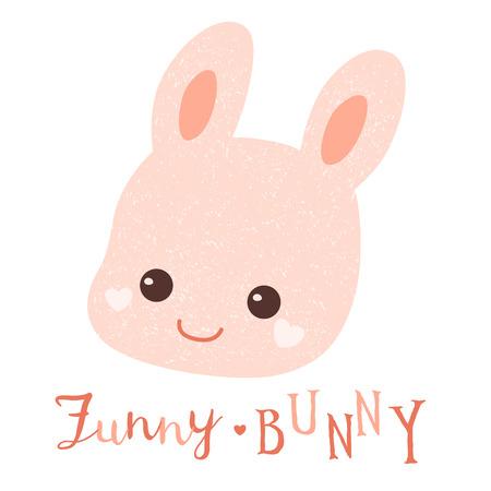 Pink bunny kawaii head.