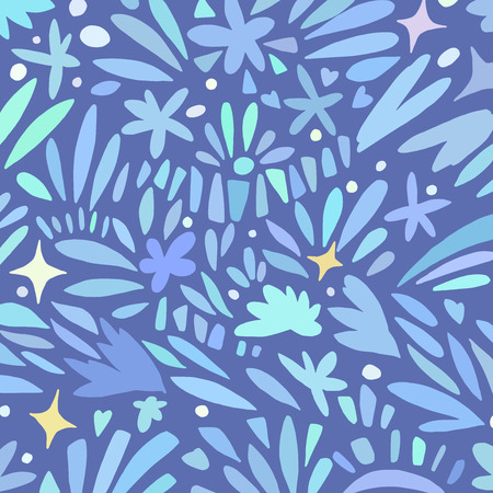 Square pattern in blue shades. Banner background. Organic textile. Doodle Sketch style vector collection. Beauty concept.