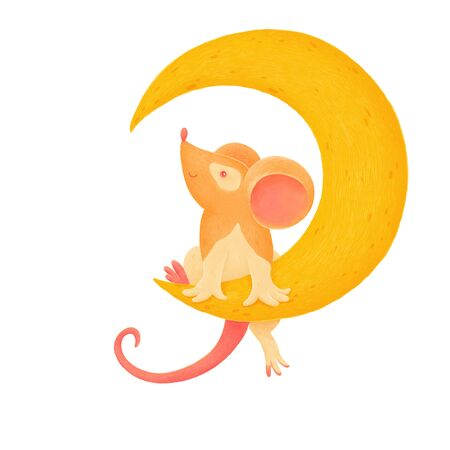 A little mouse sits on a Crescent moon on isolated white Stok Fotoğraf - 142843189