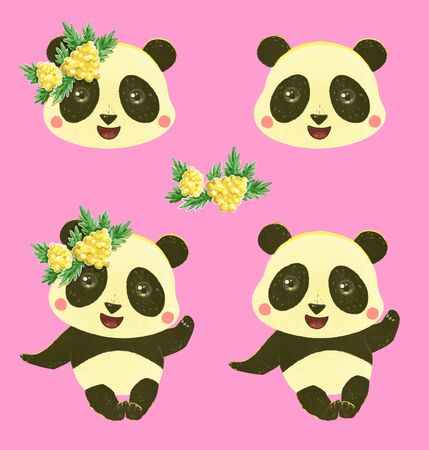 Cartoon panda in a wreath of yellow flowers on an isolated pink background. Mimosa, panda head. Illustrations for design, prints, postcards, posters. Stok Fotoğraf