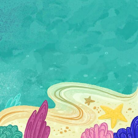 The seabed, reef, underwater ecosystem. Holidays at sea. Turquoise water, a line of sand and algae. Cartoon drawing of the underwater world. Stok Fotoğraf