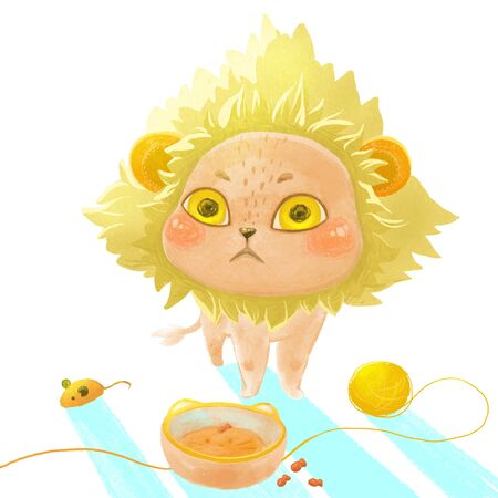 A cat in a mane for pets is standing in front of an empty bowl. Cat food, accessories for photo shoots. Illustration for design, prints, posters.