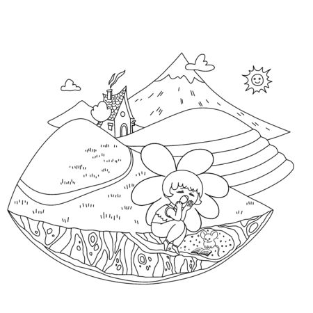 Change of time of day. Educational coloring for children. Evening. House among the hills. Mountain landscape, sky, sun and clouds, path, tea plantations. The characters - a flower and a mouse - are tired and have a rest. Stok Fotoğraf