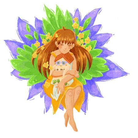The concept of love for your home, family values, homeliness, the significance of your home. Dreams of your home, a haven. A girl with long hair in a summer dress hugs, holds a house in his hands. The character is a house with arms and legs. Background of leaves and flowers. Color illustration on a white background.