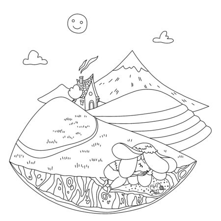 Change of time of day. Educational coloring for children. Night. House among the hills. Mountain landscape, sky, Moon and clouds, path, tea plantations. Characters - a flower and a mouse - are sleeping.
