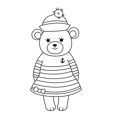 Little bear cub sailor in a striped dress and hat with a pompom. Childrens coloring, contour black and white image.