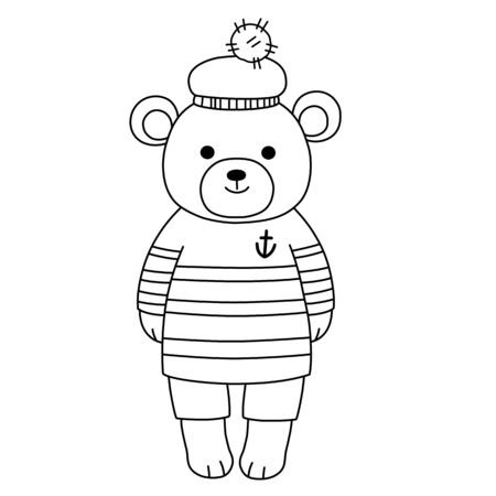 Little teddy bear sailor in a striped sweater, shorts and hat with a pompom. Childrens coloring, contour black and white image. Stok Fotoğraf - 147324253