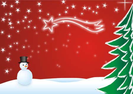 Eine Illustration mit einem Weihnachtsbaum Schnee und Sterne  Standard-Bild